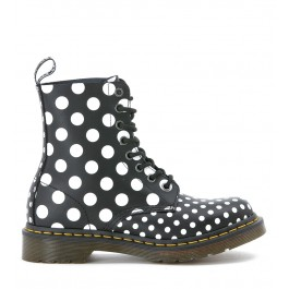 Dr Martens 8 eyelets ankle boots in black and white polka dots