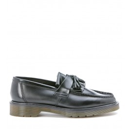 Dr Martens black leather fringed loafer