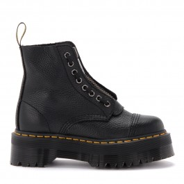 Dr. Martens moccasin shoe in black patent leather with fringe and tassels
