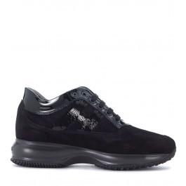 Sneaker Hogan Interactive in suede nero con micropaillettes