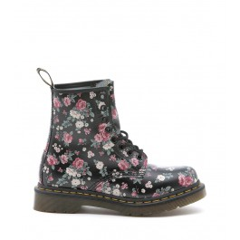 DR.MARTENS Flower Print BLACK LEATHER BOOTS