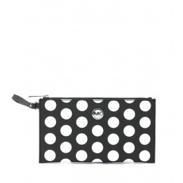 MICHAEL KORS BLACK AND WHITE POLKA DOTS POCHETTE
