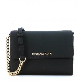 Michael Kors Jet Set Travel LG Phone Crossbody wallet in black saffiano leather