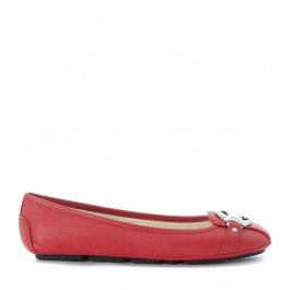 Michael Kors Fulton Moc flat shoes in red saffiano leather