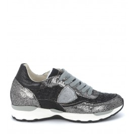 Philippe Model City flat sneaker in grey metal and black tweed