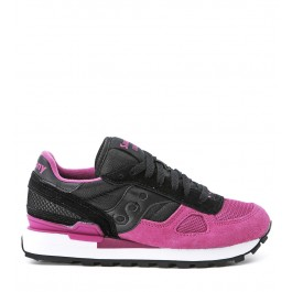 Sneaker Saucony Shadow in suede and black and fuchsia fabric