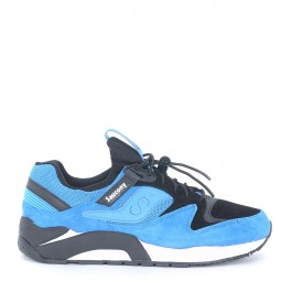 Sneaker Saucony Grid 9000 versione Premium in suede nero e bluette