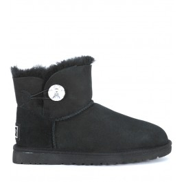 Ugg Mini Bailey Button black ankle boots with Swarovski