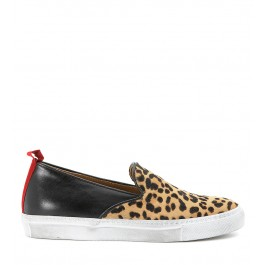 Slip on Via Roma 15 in pelle nera con punta maculata