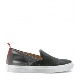 Slip on Via Roma 15 in pelle nera con punta in cavallino nero