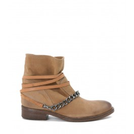 VIA ROMA 15 LEATHER ANKLE BOOT WITH CHAIN