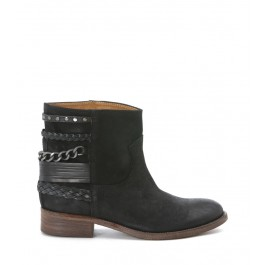 VIA ROMA 15 ANKLE BOOT WITH BLACK CHAIN AND BRAIDS