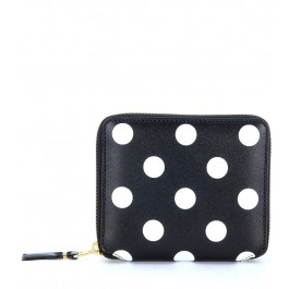 Comme Des Garçons Wallet in black leather and polka dots