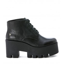 Windsor Smith Flouncy black leather ankle boot