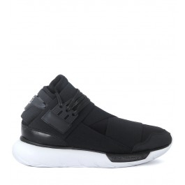 Y-3 Qasa High black leather and neoprene sneaker