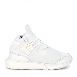 Y-3 Qasa High Sneaker  in white leather and neoprene