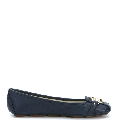 Michael Kors Fulton Moc flat shoes in blue saffiano leather