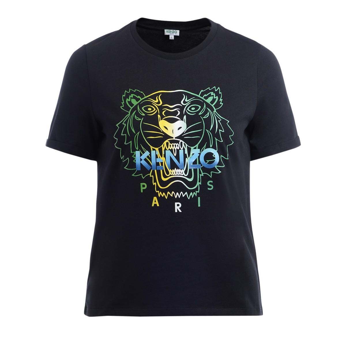 Kenzo Tigre black cotton t shirt with multicolor logo