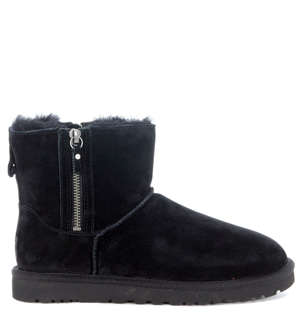 Ugg Mini ankle boots in black suede with double zip