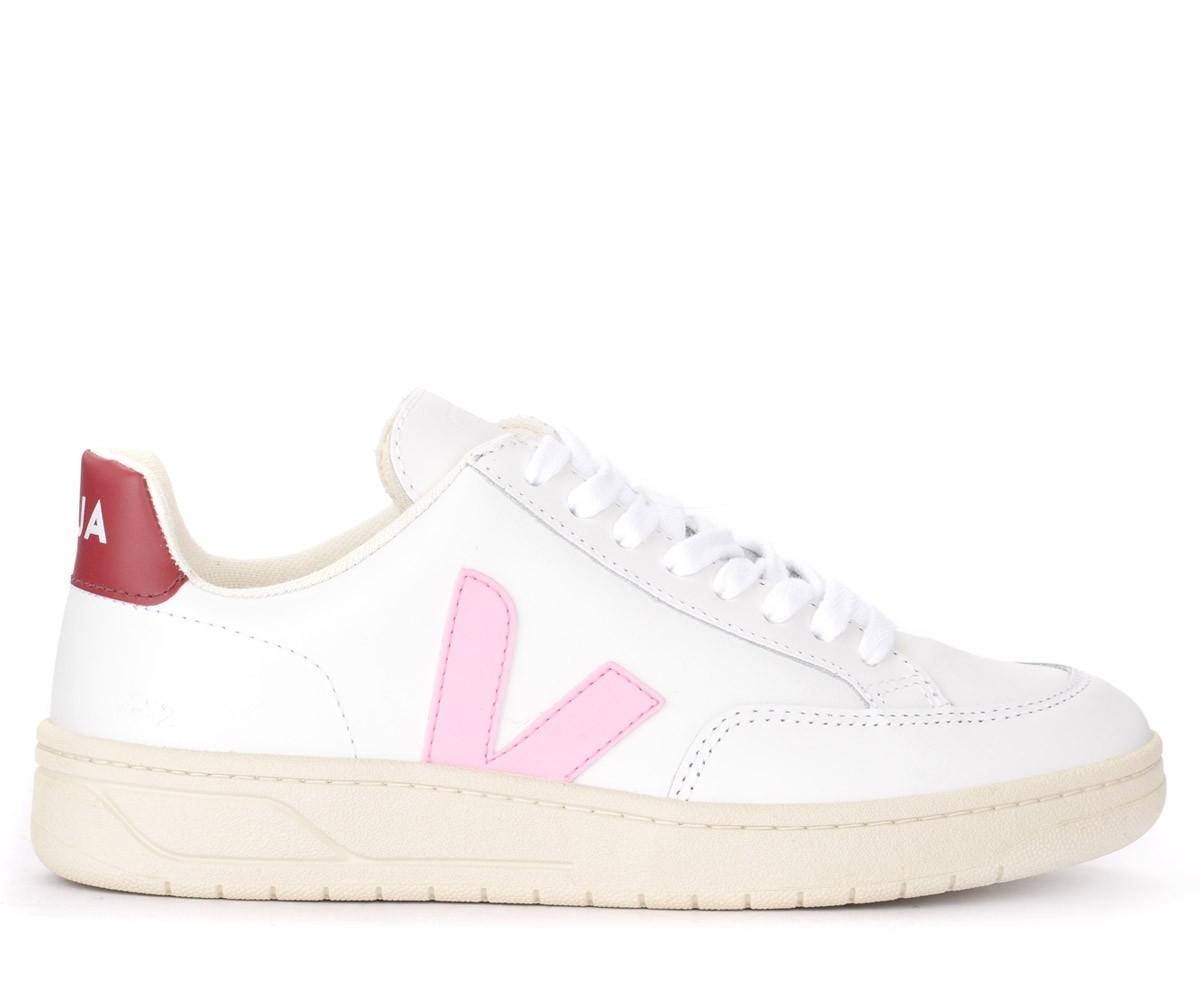 Veja V-12 sneaker in white leather and
