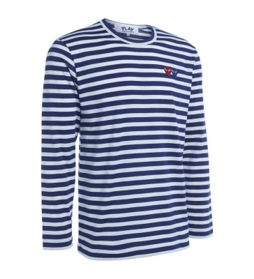 Laterale Comme Des Garçons PLAY double heart striped sweater