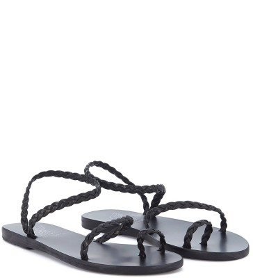 Laterale Ancient Greek Sandals Eleftheria black woven leather sandal