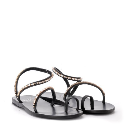 Laterale Ancient Greek Sandals Apli Eleftheria Diamonds black leather sandal
