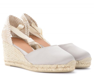 Laterale Castañer Carina wedge sandal in gray and dove gray in canvas and jute