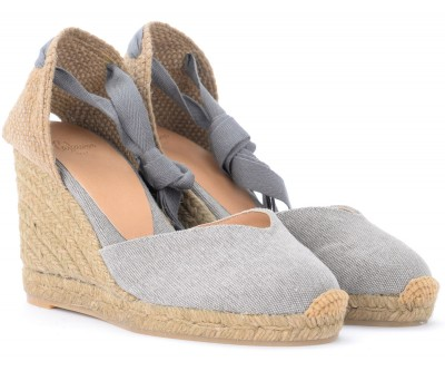 Laterale Castañer Chiara wedge sandal in gray canvas and fabric