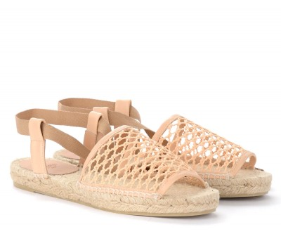 Laterale Castañer Paz espadrille sandals in natural leather and cotton