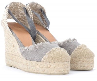 Laterale Castañer Catalina gray wedge sandal in canvas and jute