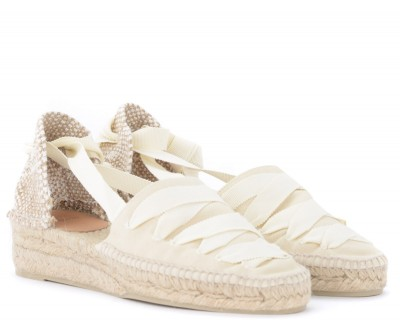 Laterale Castañer Gina wedge sandal in ivory canvas