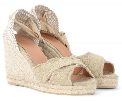 Laterale Castañer Bluma wedge sandal made of gold-colored jute canvas
