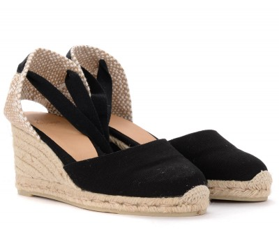 Laterale Castañer Carina wedge sandals in black canvas and fabric