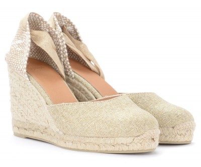 Laterale Castañer Carina wedge sandal in canvas and beige fabric with golden inserts