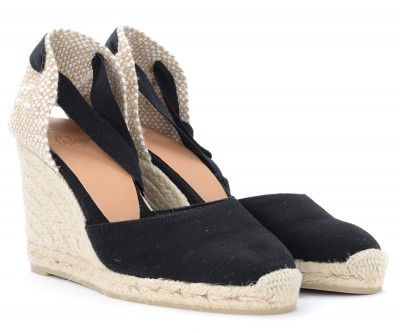 Laterale Castañer Carina wedge sandal in black canvas