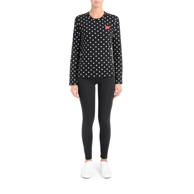 Laterale Play by Comme de Garcon black and white polka dots T-shirt