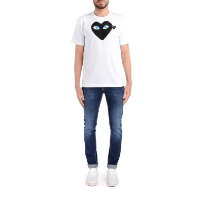 Laterale Play by Comme de Garcon white T-shirt with black heart