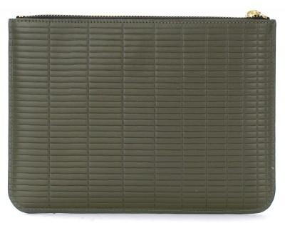 Laterale Comme Des Garçons Wallet Brick Line purse in khaki coloured leather.