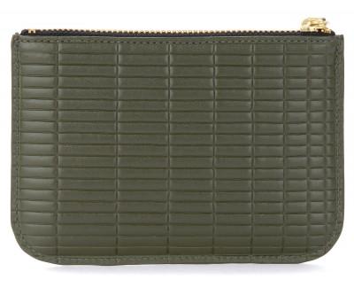 Laterale Comme Des Garçons Wallet Brick Line in khaki coloured leather