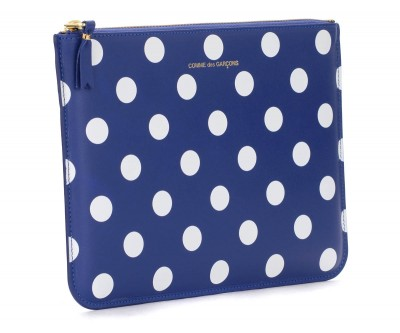 Laterale Comme Des Garçons Wallets rectangular navy blue clutch with white polka dots