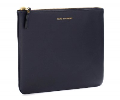 Laterale Comme des Garçons Wallet pouch in navy blue leather