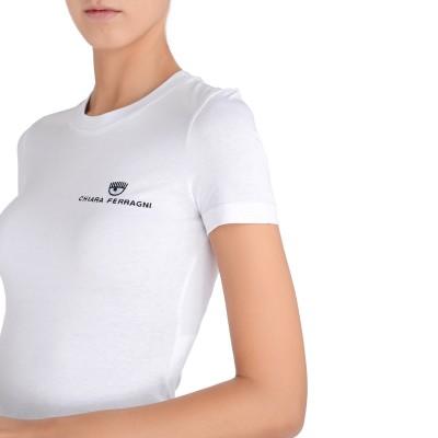Laterale T-shirt Chiara Ferragni bianca con logo