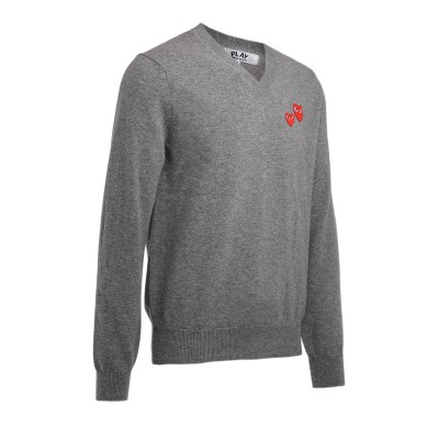 Laterale Comme Des Garçons PLAY sweater with gray V-neck with red mini hearts