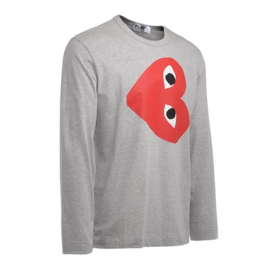 Laterale Comme Des Garçons T-Shirt PLAY long sleeve in gray cotton with inverted heart