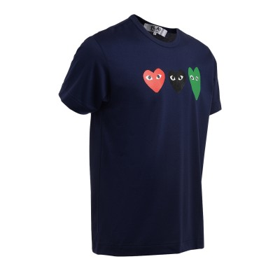 Laterale Comme Des Garçons PLAY t-shirt in blue cotton with multicolor hearts
