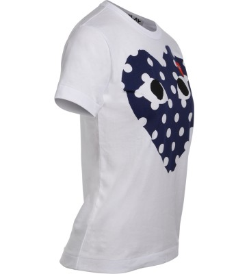 Laterale Comme Des Garçons PLAY white t-shirt with blue polka dot heart