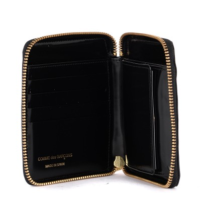 Laterale Comme Des Garçons Wallet black shiny printed leather wallet