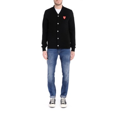 Laterale Black Comme Des Garçons PLAY  Cardigan with overlapping hearts