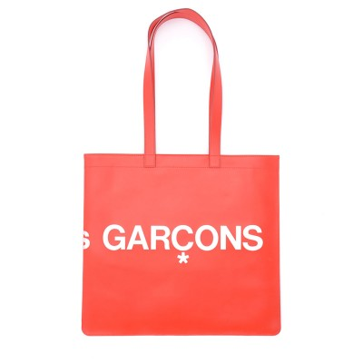 Laterale Comme Des Garçons Wallet Shopping Bag model Huge Logo in red leather